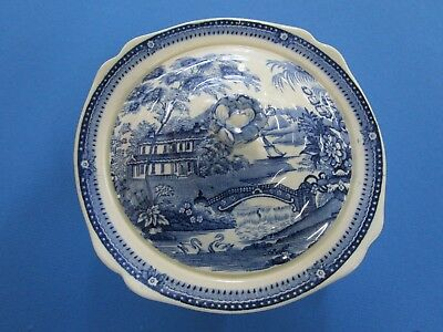 Clarice Cliff Blue Tonquin Royal Staffordshire Covered Serving Bowl Excellent