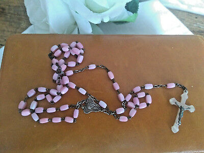 Lourdes Religieus soft pink beads rosary crucifix cross rare color opaline