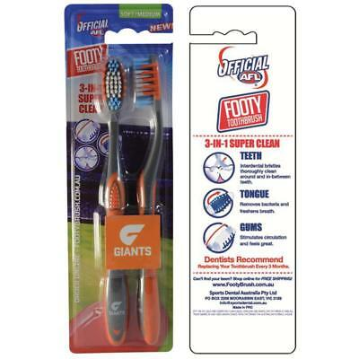 3x AFL Toothbrush GWS Giants Twin Pack