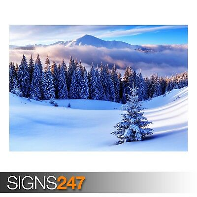 WINTER SEASON MOUNTAINS (AE039) NATURE POSTER - Poster Print Art A0 A1 A2 A3