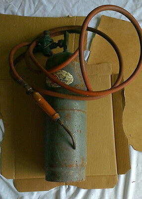 Vintage Acetylene Plumbers Tank Cylinder Bottle with Torch Hose Regulator