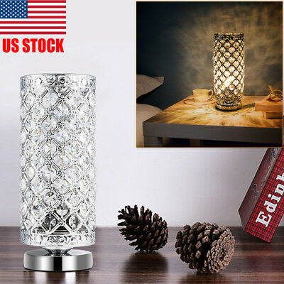 New Decorative Crystal Nightstand Table Lamp Night Bedside Light Lamp Bedroom US