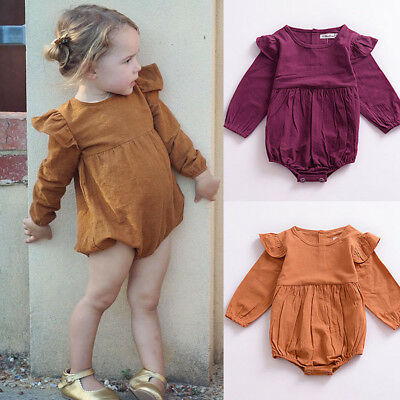 UK Infant Baby Girls Romper Summer Jumpsuit Clothes Sunsuit Long Sleeve Outfits