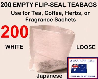 200 Tea Bags Empty FLIP-SEAL * Herb * Spice * Fruit Filter Infuser Teabags White