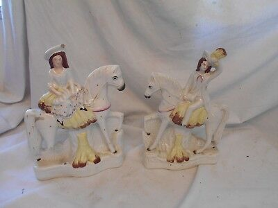 PAIR Antique 19th CENTURY Victorian STAFFORDSHIRE Flat Back HOME HARVEST Figures