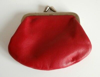 Vintage Red Leather Coin Purse