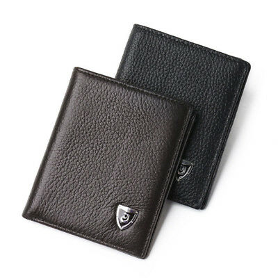 Unique Men Small Genuine Leather Purses Ultra-thin Wallet Cards Holder Wallets