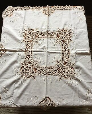 Vintage Battenburg Lace & Embroidery Square Table Cloth