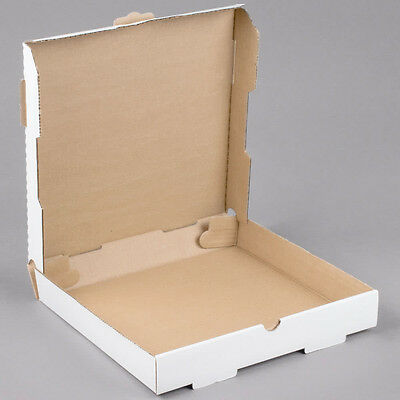"12"" x 12"" x 1 3/4"" White Corrugated Plain Pizza / Bakery Box - 50/Bundle"