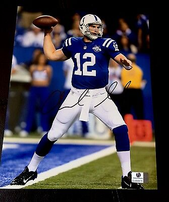 Andrew Luck Indianapolis Colts Hand Signed NFL Jersey Photo 8 X 10 COA