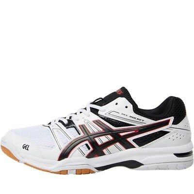 NEW Asics Mens Gel Rocket 7 Indoor Court Shoes White/Black 7-9 UK