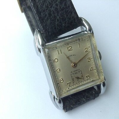 Vintage Rare Rotary Art Deco gents Watch 1940's Swiss Made,15 Jewels Cal A.S 984