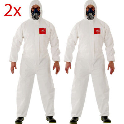 2x Microgard 2500 Coveralls SMALL WHITE Protection from saturating liquid spray