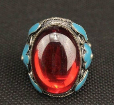 OLD CHINA MIAO SILVER CARVED FLOWER INLAY RED ZIRCON LOVE RING a02