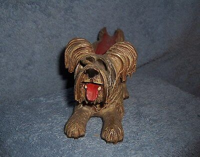 Antique Vintage Wooden Wood Carved Smoking Pipe Holder~CUTE SCOTTISH TERRIER DOG