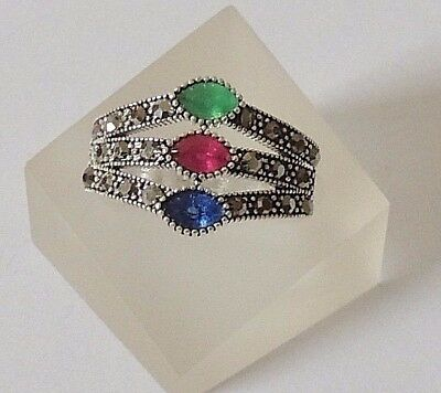 925 STERLING SILVER MARCASITE EMERALD, RUBY AND SAPPHIRE RING -size N 1/2