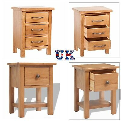 Oak Nightstand with 1/3 Drawers Bedside Table Cabinet Chest Home Lamp Stand