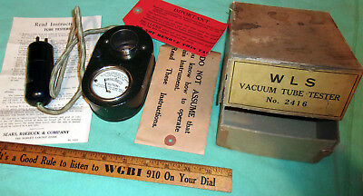 WLS Vacuum Tube Tester No. 2416 (Silvertone) Early 1920's w/ Orig Box NICE! Wkg!