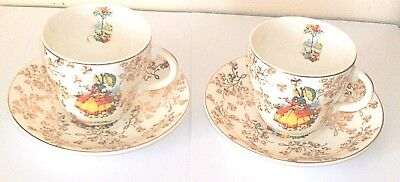 Pair Of Early English Crinoline Lady Cups And Saucers In Fairly Good Condition