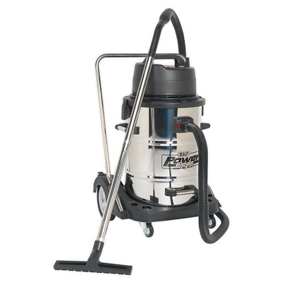 Vacuum Cleaner Industrial Wet & Dry 77ltr Stainless Drum 230V - Sealey - PC477