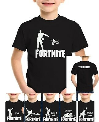 Fortnite T-shirt Dance Emote tshirt floss dab baller Kids Play station Xbox Tee