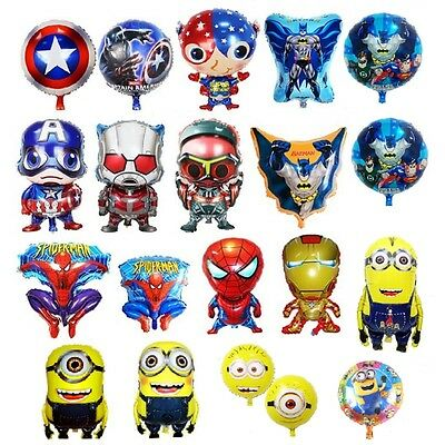 Spiderman Minions captain America Foil Balloons Kids birthday Party boy Toy Gift