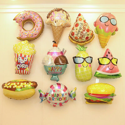 Sweet Ice cream Popcorn Donut Food Foil Balloon for Kids Children Birthday Decor