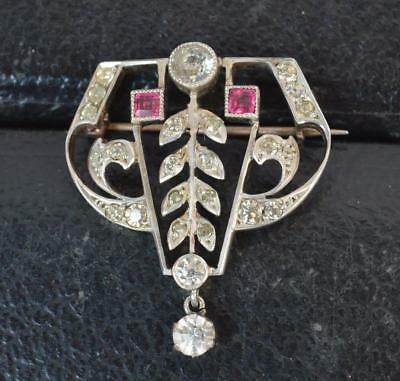 Art Deco 1930's Solid Silver & Paste Brooch