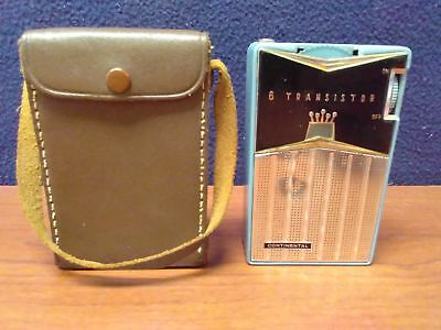 Vintage 1962 CONTINENTAL TR-682 6-Transistor Pocket Radio w/ Leather Case