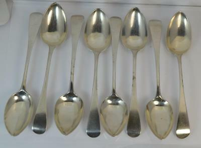 1825 Georgian Set of 8 Solid Silver Plain Tea Spoons by John Whiting
