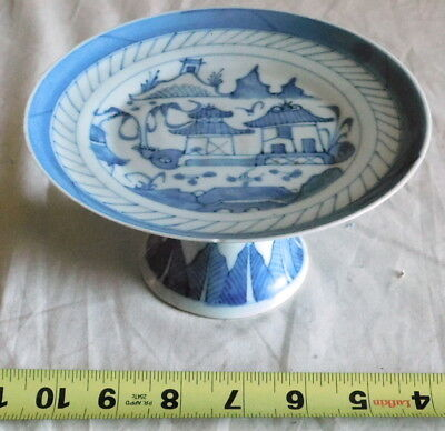 Antique Chinese Export Porcelain Canton Pedestal Serving Dish Tazza Compote blue