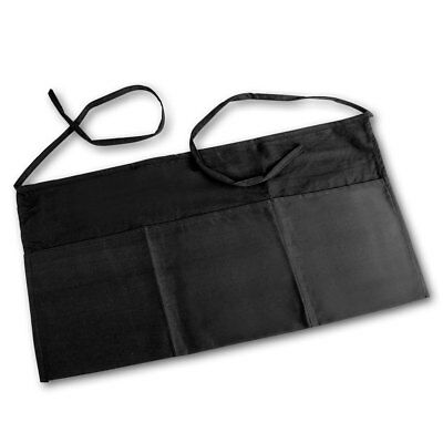 Linteum Textile 3-Pocket Waiter Short BLACK WAIST APRON 24x12 in.