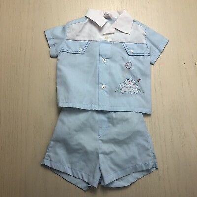 Vintage 1960s Blue Boys Frog Shirt Shorts 6 9 Months Collared Tee