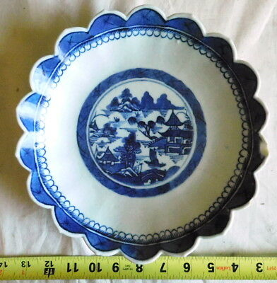Antique Chinese Export Porcelain Canton Serving Dish plate Compote blue bowl