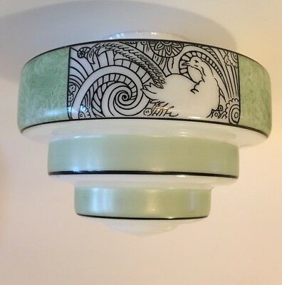Unique Art Deco Tiered Light Shade Stenciled Vintage Milk Glass Peacock Green