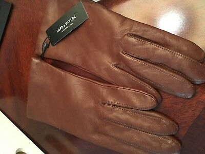 Women's Leather Brown / Saddle Cashmere Lined Wrist Gloves 7.5 NEW. TAGS