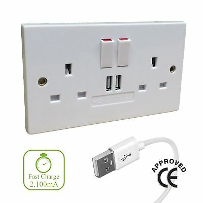 Double Wall Socket with Twin USB fast Charger Ports 2 Gang Plug Switched Plate