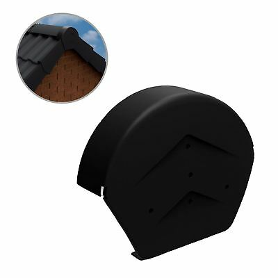 Black Half Round Ridge End Cap for Dry Verge Systems, Gable Apex Roof Tiles