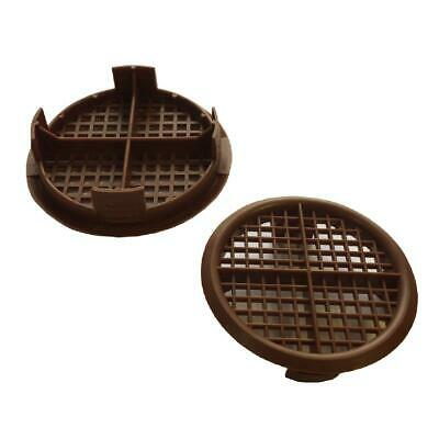8 x Brown Plastic 70mm Round Soffit Air Vents / UPVC Push Fit Eaves Disk Fascia