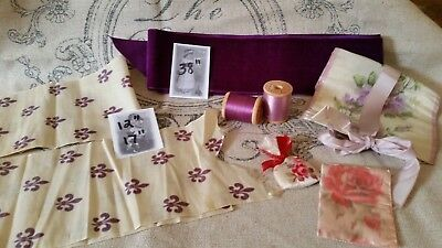 Antique  Silk Taffeta& Velvet Ribbon Lot- Fleur De Lis-Lavender Roses