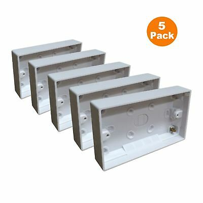 5 x Surface Mounted Back Box 25mm Wall Pattress Double 2 Gang Electrical Socket