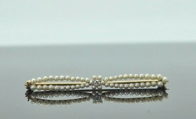 Vintage 14K Yellow Gold 0.03ct Diamond & Small Pearls Pin/Brooch