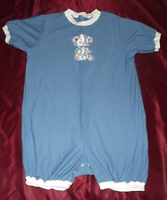 New Adult baby romper sleeper white and blue bear  chest 48 inches