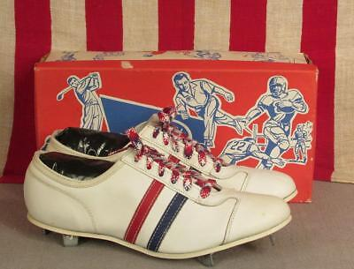 Vintage Gotham Leather Baseball Shoes Cleats Low Top Red/Wht/Blue NOS w/Box Sz.9