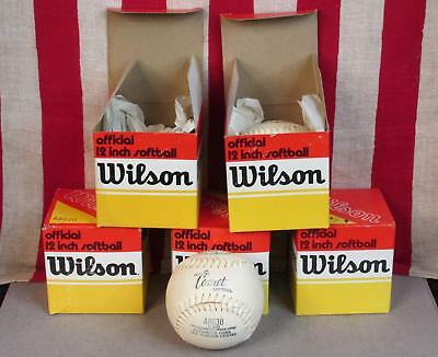"""Vintage Group of 5 Wilson Comet Official Softballs 12"""" New in Original Box NOS"""