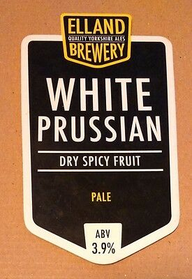 Beer pump badge clip ELLAND brewery WHITE PRUSSIAN cask ale pumpclip Yorkshire