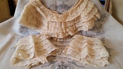Antique Lace Collar And Cuffs- Lovely Ivory Antique Net Lace!