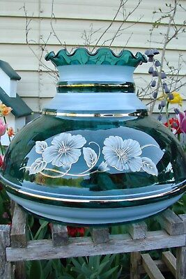 """Gone With The Wind-Handpainted Hibiscus Oil Lamp Shade-Teal-9X12"""" Fitter 9.5"""""""