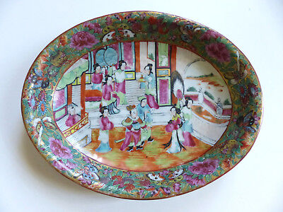SUPERB BANTIQUE 19th CENTURY CHINESE CANTON PORCELAIN OVAL PLATE DISH
