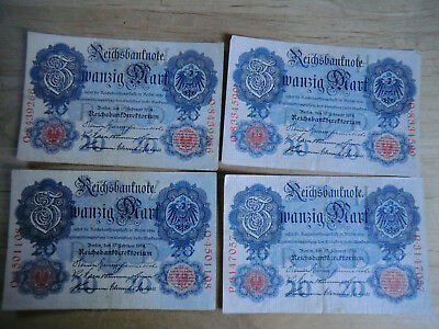 4 Reichsbanknoten 20 Mark  19. Februar 1914